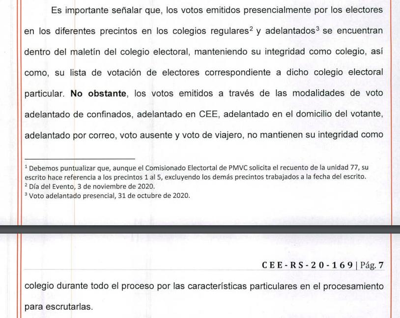 Foto mostrando como los votos escrutados no mantienen su integridad como Colegio.