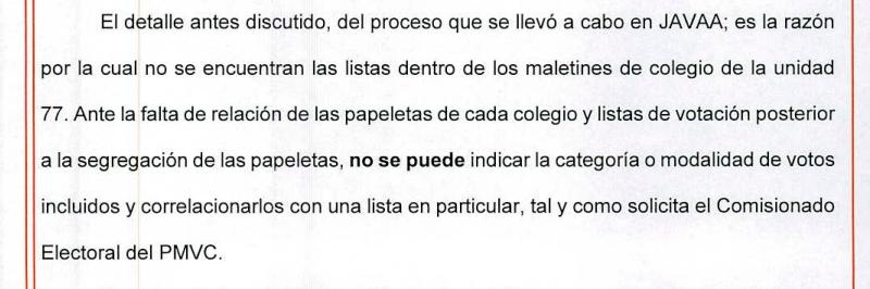 Foto mostrando texto de la razón por la que no se puede conocer la procedencia de las papeletas.