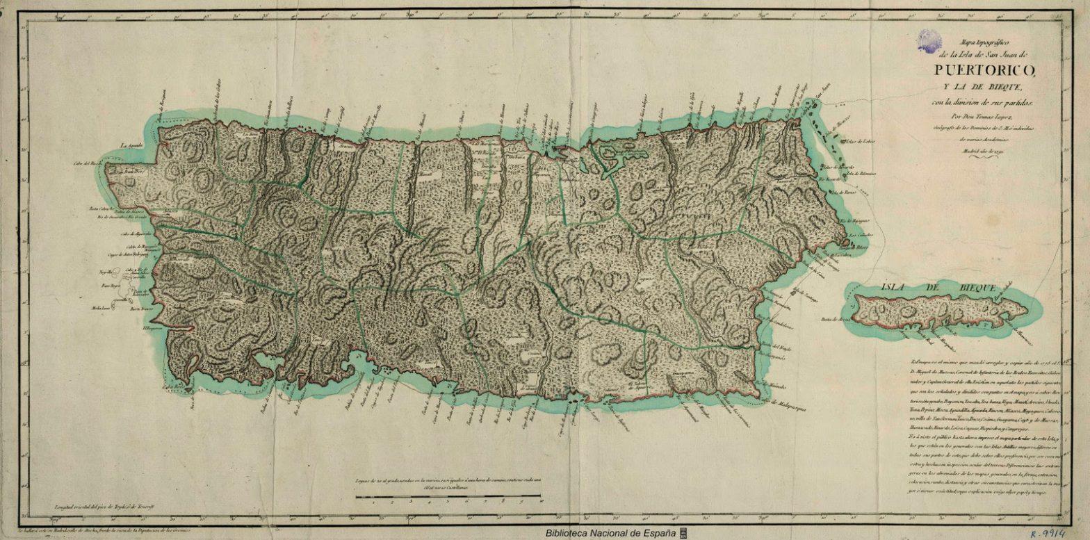 Mapa antiguo de Puerto Rico